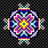 Psychedelic mandala των εικονοκυττάρων σε ένα μαύρο υπόβαθρο Στοκ Εικόνες