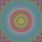 Psychedelic mandala explosion fractal background - round kaleidoscope vector pattern design from curved stars Stock Photography