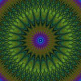 Psychedelic mandala fractal background - kaleidoscope vector pattern graphic from curved stars royalty free illustration