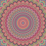 Psychedelic mandala ornament background - circular vector pattern design from concentric oval shapes royalty free illustration