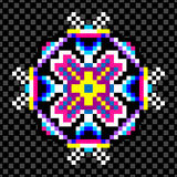 Psychedelic mandala of the pixels on a black background Stock Images