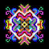 Psychedelic mandala of the pixels on a black background Royalty Free Stock Image