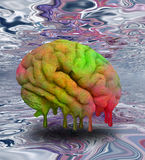 Psychedelic Melting Mind. In surreal space royalty free illustration