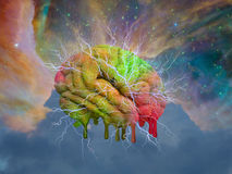 Psychedelic mind melt. Colorful human brain with electricity melting Stock Image