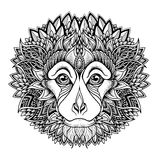 Psychedelic monkey head tattoo. zentangle style Stock Photography
