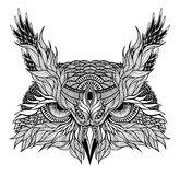 Psychedelic owl head tattoo. Isolated on white stock illustration