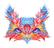 Psychedelic owl head tattoo. Stock Photo