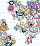 Psychedelic Paisley Notebook Doodle Vector. Abstract Psychedelic Paisley Notebook Doodle with Flowers and Swirls Vector Illustration Royalty Free Stock Image