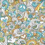 Psychedelic Peace Doodles Seamless Pattern. Seamless Pattern Psychedelic Groovy Peace Notebook Doodle Design- Hand-Drawn Vector Illustration Background Stock Photos
