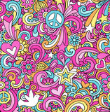 Psychedelic Peace Doodles Seamless Pattern. Seamless Pattern Psychedelic Groovy Peace Notebook Doodle Design- Hand-Drawn Vector Illustration Background Royalty Free Stock Photos