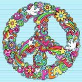 Psychedelic Peace Sign Notebook Doodles Vector. Flower Power Groovy Notebook Doodle Peace and Love Peace Sign with Doves, Hearts, Stars, and Swirls Vector Stock Photo