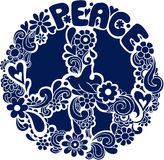 Psychedelic Peace Sign Silhouette Vector Illus. Psychedelic Peace Sign Silhouette with Doves Vector Illustration eps royalty free illustration