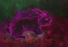 Psychedelic pink rabbit with green and red background. The dabbing technique gives a soft focus effect due to the altered surface roughness of the paper vector illustration