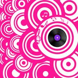 Psychedelic Pink Retro Music Background with Circles and Vinyl Record. Psychedelic Pink Retro Music Background with Circles and Vinyl Lp Record royalty free illustration