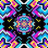 Psychedelic pixels on a black background beautiful pattern Royalty Free Stock Images