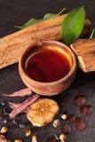 Psychedelic plant medicine. Ayahuasca brew, yopo, morning glory, hawaiian baby woodrose seeds, banisteriopsis caapi vine and chacruna leaves. Entheogens stock photos