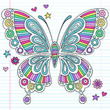 Psychedelic Rainbow Butterfly Notebook Doodles Stock Image