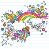 Psychedelic Rainbow Notebook Doodle Vector. Psychedelic Rainbow Notebook Doodle with Stars and Swirls Vector Illustration Stock Photos