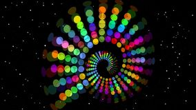 Psychedelic rainbow spiral, multicolored tunnel on black background with small flashing stars and red pixel dots. 4k video stock footage