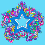 Psychedelic Rainbow Star Vector Illustration. Psychedelic Rainbow Hand-Drawn Star Vector Illustration Stock Images
