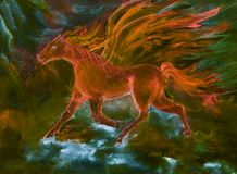 Psychedelic red horse of the apocalypse in fire and flame. The dabbing technique near the edges gives a soft focus effect due to the altered surface roughness Stock Photography