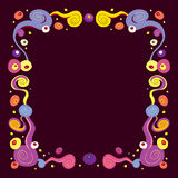 Psychedelic retro abstract art frame border Royalty Free Stock Photography
