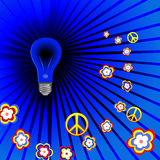psychedelic retro för blacklighthippie Arkivbild