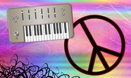 Psychedelic Retro Peace and Music Theme Stock Photo