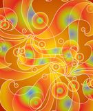 Psychedelic Retro Swirls Red. An abstract background pattern featuring retro psychedeli swirls and circles in tie dyed colors mainly orange and yellow Royalty Free Stock Image
