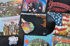 Psychedelic rock vinyl records Stock Image