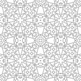Psychedelic seamless pattern for relaxation. Colouring book page. royalty free stock image