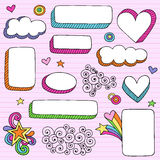 Psychedelic Shape Frames Notebook Doodle Vector. Psychedelic Shaped Frames (oval, rectangle, square, clouds) Notebook Doodles Design Elements with Hearts, Stars Stock Images