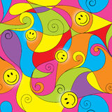 Psychedelic smiley. Psychedelic seamless background with smiley. EPS8 vector illustration with global colors Stock Images