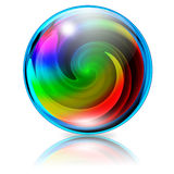 Psychedelic Spiral Crystal Sphere. Crystal Sphere Icon with Colors Spiral inside Royalty Free Stock Images