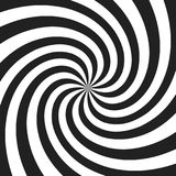 Psychedelic spiral with radial gray rays. Swirl twisted retro background. Comic effect  illustration Royalty Free Stock Images