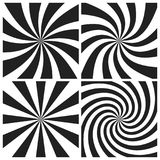 Psychedelic spiral with radial gray rays. Swirl twisted retro background. Comic effect  illustration set Stock Photos