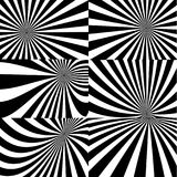 Psychedelic spiral with radial rays, twirl, twisted comic effect, vortex backgrounds - vector set royalty free illustration