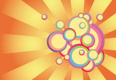 Psychedelic spring sunrise. Retro abstract vector illustration of multi-colored circles on a pinwheel background ... far out Royalty Free Stock Photos