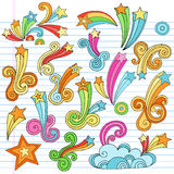 Psychedelic Stars Notebook Doodles Vector Elements. Psychedelic Stars and Starburst Notebook Doodles with clouds and swirls. Vector Illustration Design Elements stock illustration