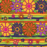 Psychedelic stripes and flowers pattern Royalty Free Stock Image