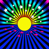 Psychedelic Sun Rays and Stars Royalty Free Stock Photo