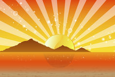 Psychedelic Sunset with the Mountains and Beach Royalty Free Stock Photo