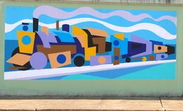 Psychedelic  Train Mural On James Road in Memphis, Tennessee. Stock Photos