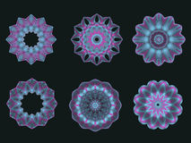 Psychedelic  Turquoise Kaleidoscope Spirograph Motifs. Collection of Psychedelic Turquoise Kaleidoscope Spirograph Motifs Isolated On Black Royalty Free Stock Photos