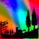 Psychedelic Tuscany Royalty Free Stock Photos