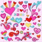 psychedelic valentiner för klotterhjärtaförälskelse stock illustrationer