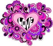 psychedelic vektor för skraj hjärtaillustration royaltyfri illustrationer