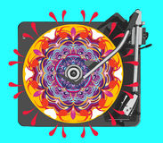 Psychedelic vinyl turntable. Stock Photos