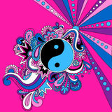 Psychedelic Yin Yang Vector Illustration. Retro 60s Groovy Psychedelic Yin Yang Vector Illustration Royalty Free Stock Image