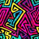 Psychedelisch naadloos patroon met grungeeffect Royalty-vrije Stock Fotografie